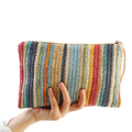 2017 Women Straw Clutch Bag Stripe Women's Clutches Beach Handbag Bolsa Feminina Wristlets Lady Casual Envelope Purse