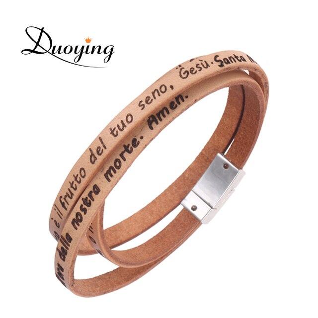 aee3d30a8aa4 Duoying de pulseras de cuero nombre personalizado fe de estampado de las  religiones de la joyería