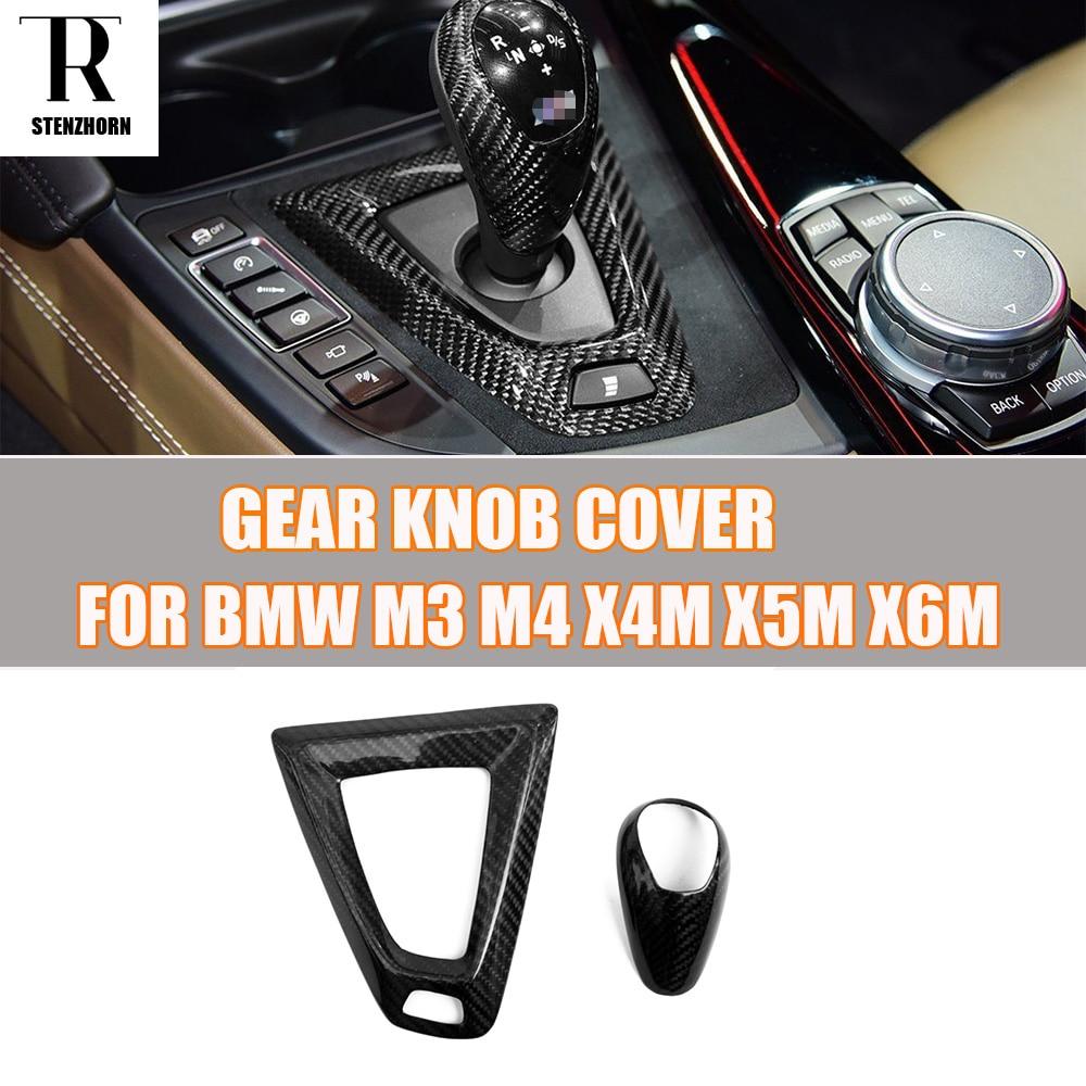 Carbon Fiber Interior Gear Shift Knob Decorative Trim Cover for BMW F80 M3 F82 F83 M4 F26 X4M F15 X5M F16 X6M for audia6lc7pa s6 s7 a7 vw passat b7 cc carbon fiber gear shift knob 4g0 713 139oemblack leather gear shift knob universal