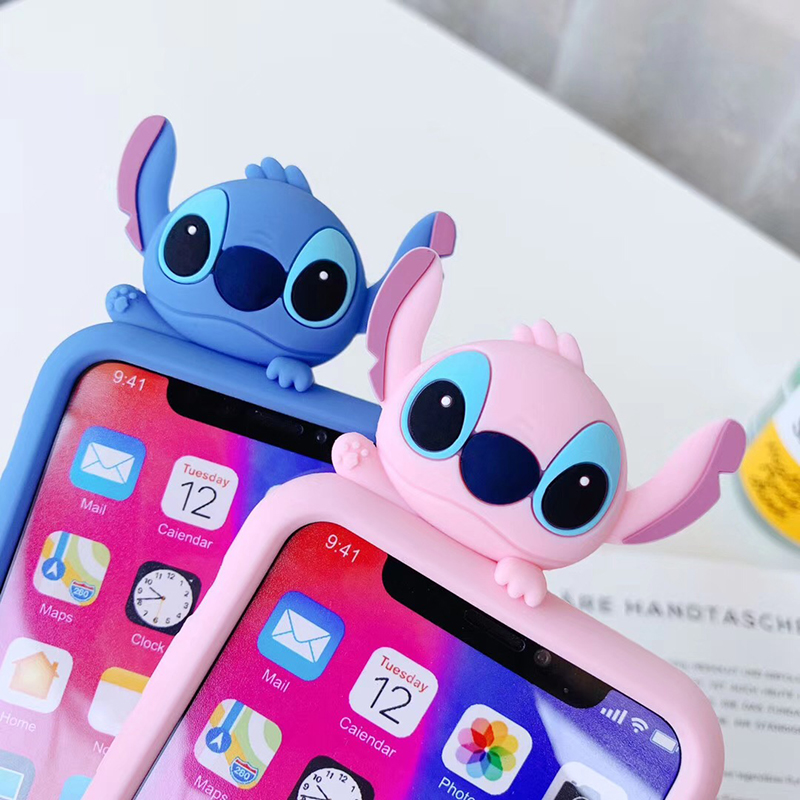 Luxury Cute 3D Stitch Support Soft Silicone Phone Case For Iphone 6 S 6S 7 7plus 8 8plus X 10 XR XS Max Pink Back Cover Coque