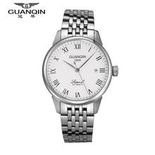 Luxury Brand Men Watch GUANQIN Zafiro Reloj Mecánico de Acero de Oro Reloj de Los Hombres A Prueba de agua Para Hombre Relojes de Pulsera Relogio masculino