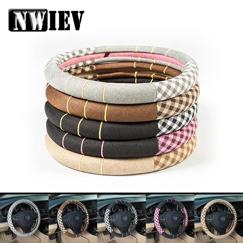 38cm Flax Car Styling Steering Wheel Cover For Jeep Ford Focus 2 <font><b>3</b></font> Peugeot 307 206 Fiat <font><b>500</b></font> Punto VW Polo Golf 4 5 <font><b>7</b></font> Touran T5 image