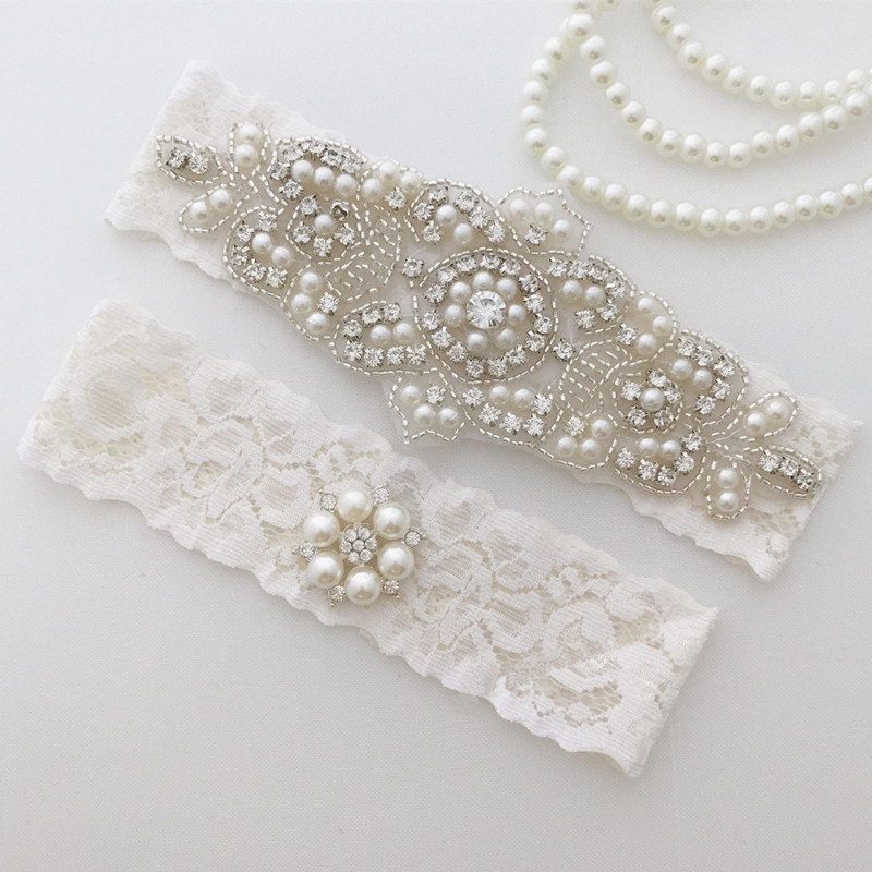 Wedding Bridal Garter Set Crystal Rhinestone & Pearl on a WHITE Lace Toss Garter