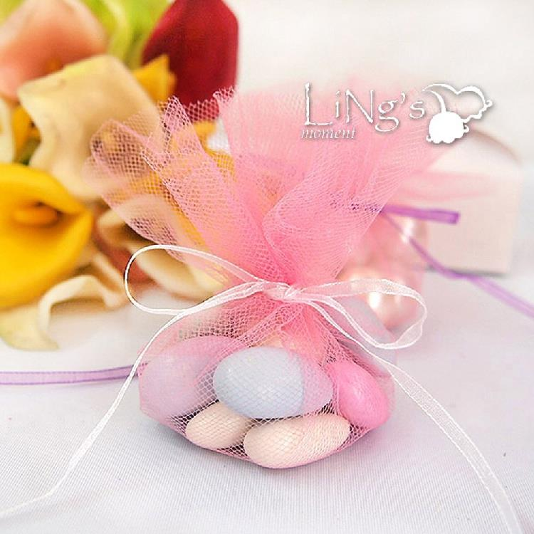 100 Pcs Multicolor Tulle Round Circle Wedding Favors Baggifts Bags