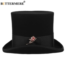 купить BUTTERMERE Wool Top Hat Men Black Rose Magician Hat British Style Male President Vintage Party Church Magician Top Hat 17cm дешево