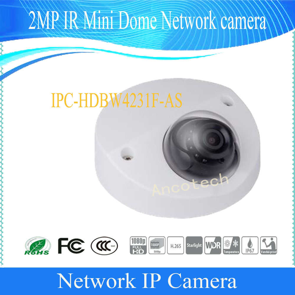 Free Shipping Dahua Security IP Camera 2MP Day/Night WDR IR Mini Dome Network Camera With POE IP67 DH-IPC-HDBW4231F-ASFree Shipping Dahua Security IP Camera 2MP Day/Night WDR IR Mini Dome Network Camera With POE IP67 DH-IPC-HDBW4231F-AS