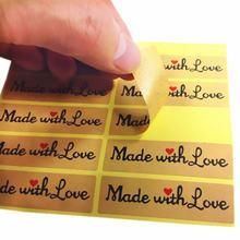 100 шт/лот Сделано с любовью красное сердце Крафтовая наклейка