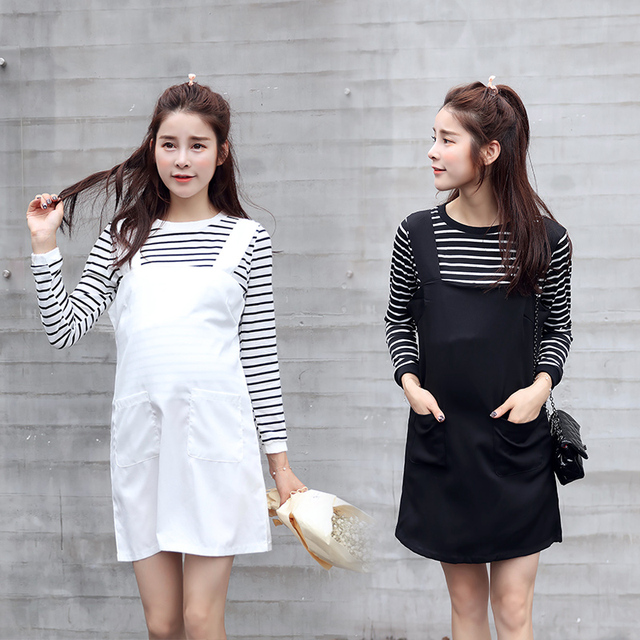 2016 весной и осенью новый одежда для беременных Корейский полосатый Футболка юбка с погонами из двух частей материнства