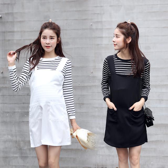 2016 primavera y otoño nueva ropa de maternidad Coreano Camiseta a rayas falda con tirantes de dos piezas de la maternidad