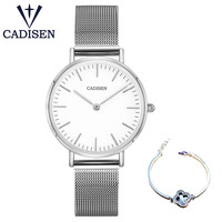 CADISEN Women Fashion Watch Set Lady Casual Watches Stainless Steel Mesh Band Stylish Desgin Silver Quartz Watch for Female Women Quartz Watches