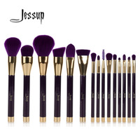 Jessup 15pcs Purple Darkviolet Makeup Brushes Set Powder Foundation Eyeshadow Eyeliner Lip Contour Concealer Smudge Brush