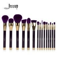 Jessup 15pcs Purple Darkviolet Makeup Brushes Set Powder Foundation Eyeshadow Eyeliner Lip Contour Concealer Smudge Brush