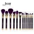 Jessup 15 unids púrpura/darkviolet pinceles de maquillaje polvos sombra de ojos delineador de labios contour corrector cepillo mancha herramienta
