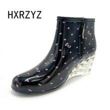 Primavera y otoño cuñas botas de lluvia de tacón alto Y tobillo zapatos de agua antideslizante cuñas mujeres zapatos de lluvia Botas de goma