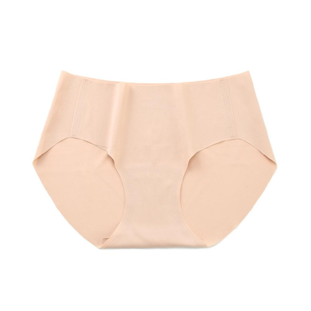 Women Solid Color Pleasantly Cool Medium Waist Threaded Meryl Seamless Triangle Underwear One Piece Briefs Panties