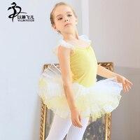 Geel/Roze Ballet Turnpakje Jurk Meisjes Leuke Ballet Dans Praktijk Kostuums Kids Korte Mouw Ballet Tutu Rok