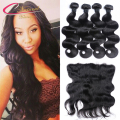 Natural Color Body Wave With Closure Peruvian Human Hair 4 Bundles With 13x4 Ear To Ear Lace Frontal Closure With Bundles