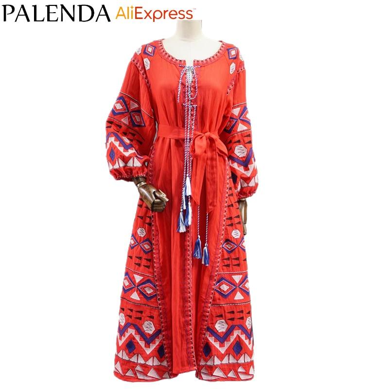 2016 новый бохо вышивка платье богемно-красный кафтан макси длинный лодыжки хлопок реальное фото большой размер широкий широкоформатный красный