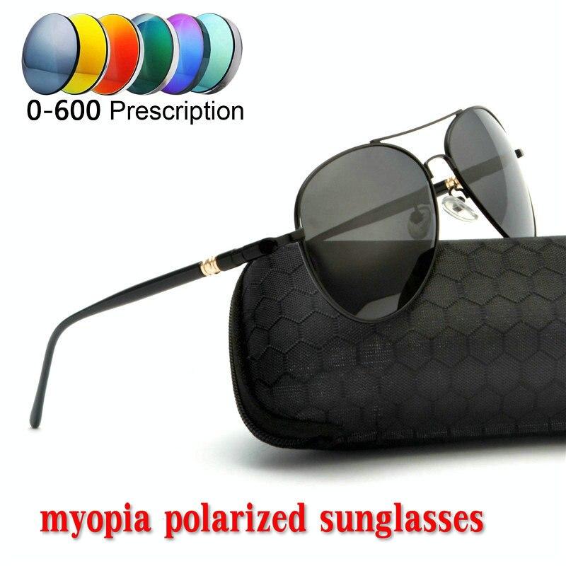 3263b2a736 2019 de la miopía menos receta lente polarizada gafas de sol hombres  diseñador completa piloto gafas