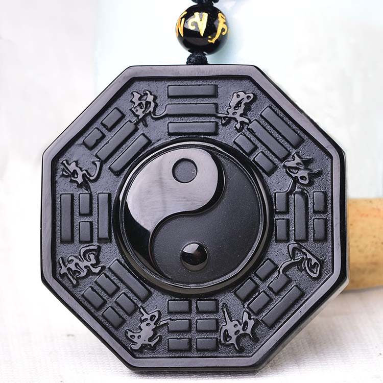Dropshipping Black Obsidian Necklace Pendant Chinese Bagua Mens Jewelry Womens -1336
