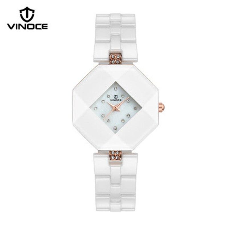 VINOCE woman diamond watch ceramic watches casual fashion luxury brand gold quartz movement waterproof Relogio Hotel