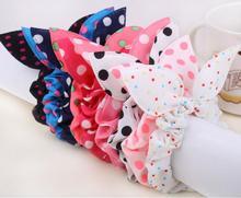 цены на FS141 mix wholesale hot New Arrive! New Cute Dot Fabric Rabbit Ear girls woman hairbands Hair rope for women free shipping  в интернет-магазинах