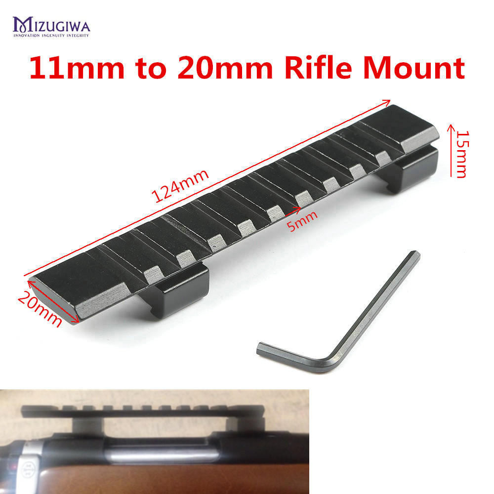 Scope Mount Dovetail 11mm to 20mm Weaver Picatinny Rail Adapter Extend Mount 10 Slots 124mm Pistol Airgun Hunting Picatinny Rail|11mm dovetail|picatinny rail|scope mount - title=