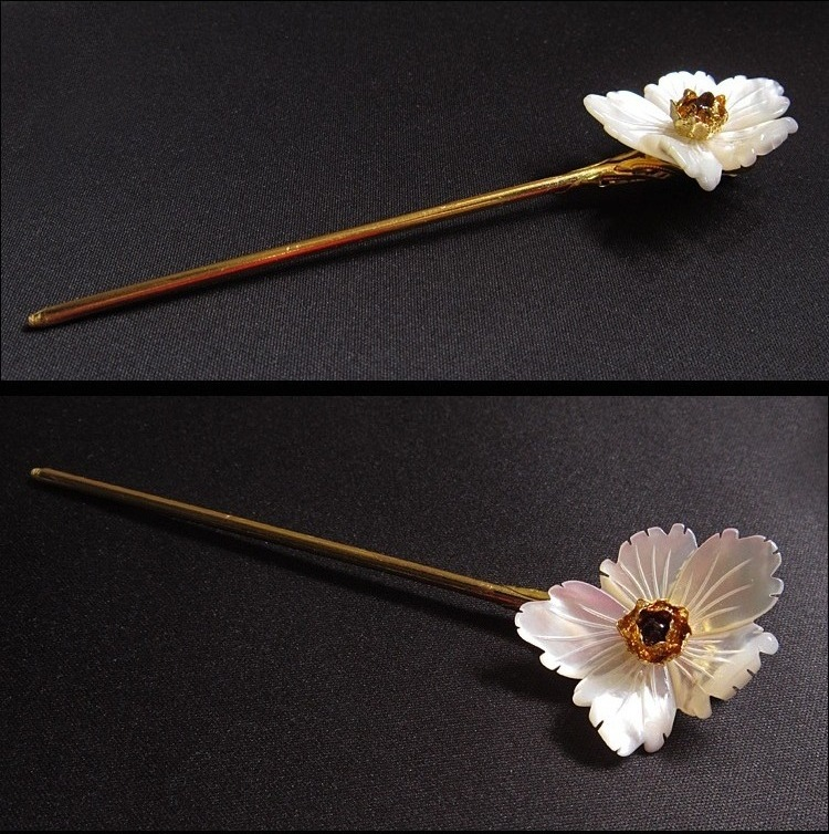 Hand Carved Natural Shell Flower Metal Hair Stick Garnet Retro Chinese Sticks Jewelry Vintage Hairpin Hair Accessories WIGO1059