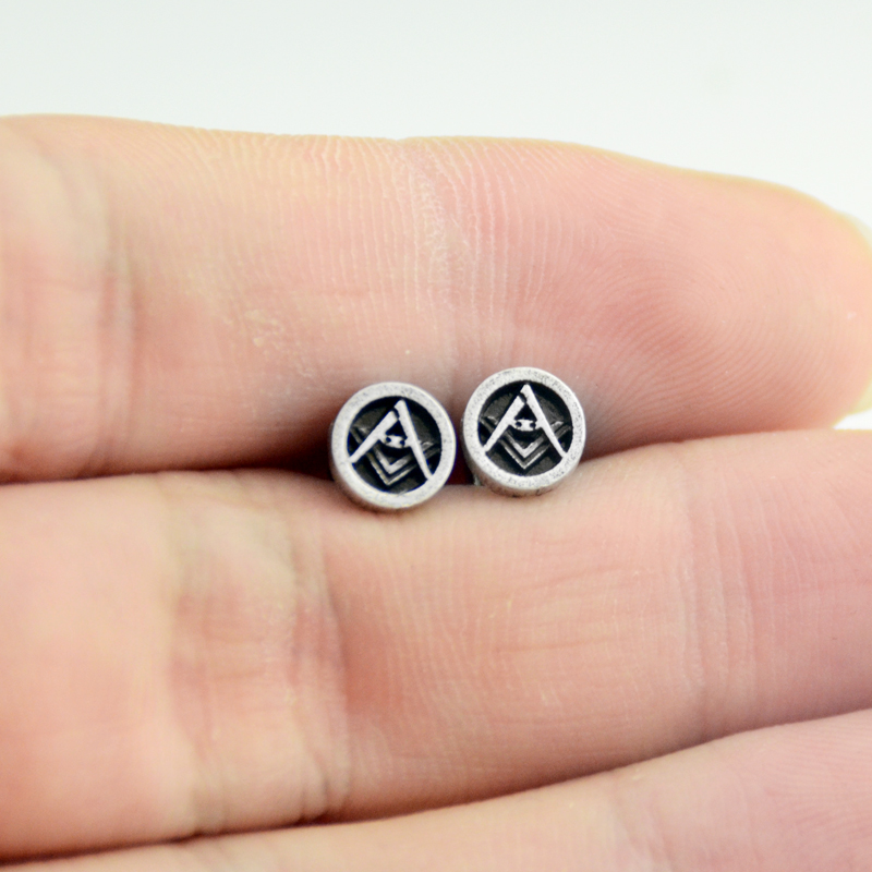bd54372ddcbf0 US $1.69 5% OFF|1pair Silver Masonic Symbol Studs Earring Freemasons Posts  Circle Round Ear Studs Masonic Earrings Dropship-in Stud Earrings from ...