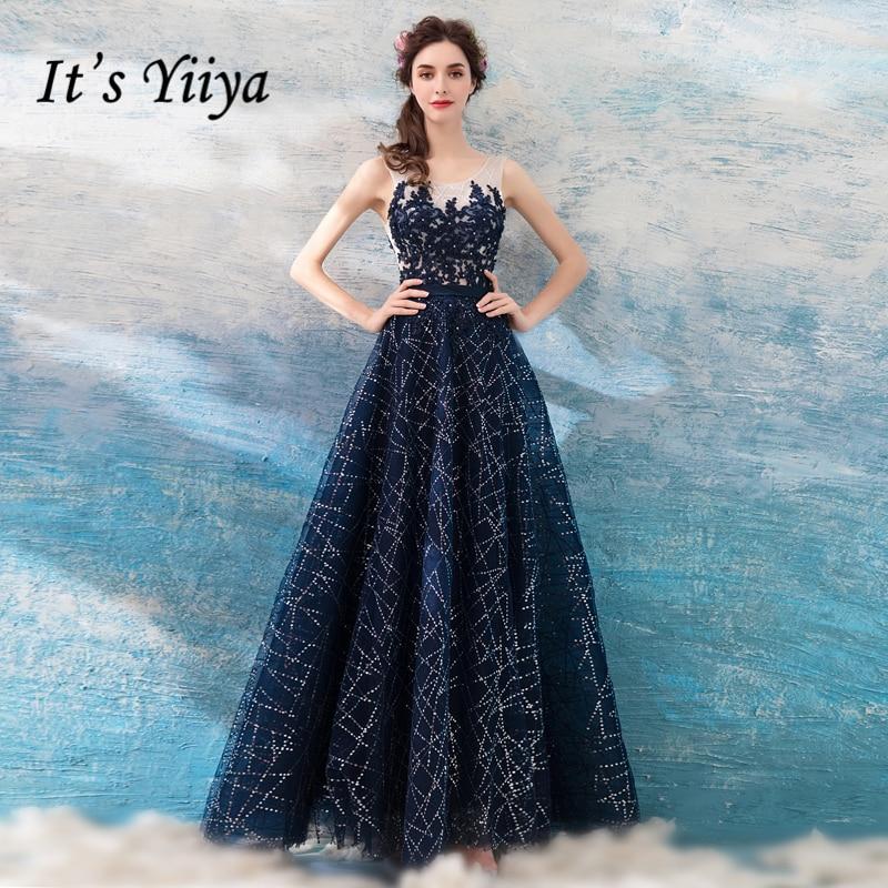 It's Yiiya 2018 Hot Blue Sleeveless Luxury Evening Dresses Fashion Lace Up Bling Crystal Sexy Backless Formal Dress LX300