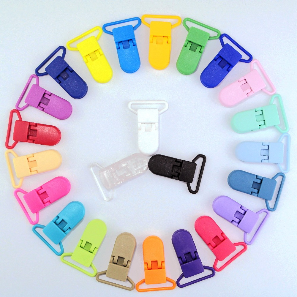 48 Pcs Eco-friendly Plastic Baby Pacifier Clips Holder Mix Colors Dummy Soother Clip Transparent 25MM Bib Clip Free Shipping