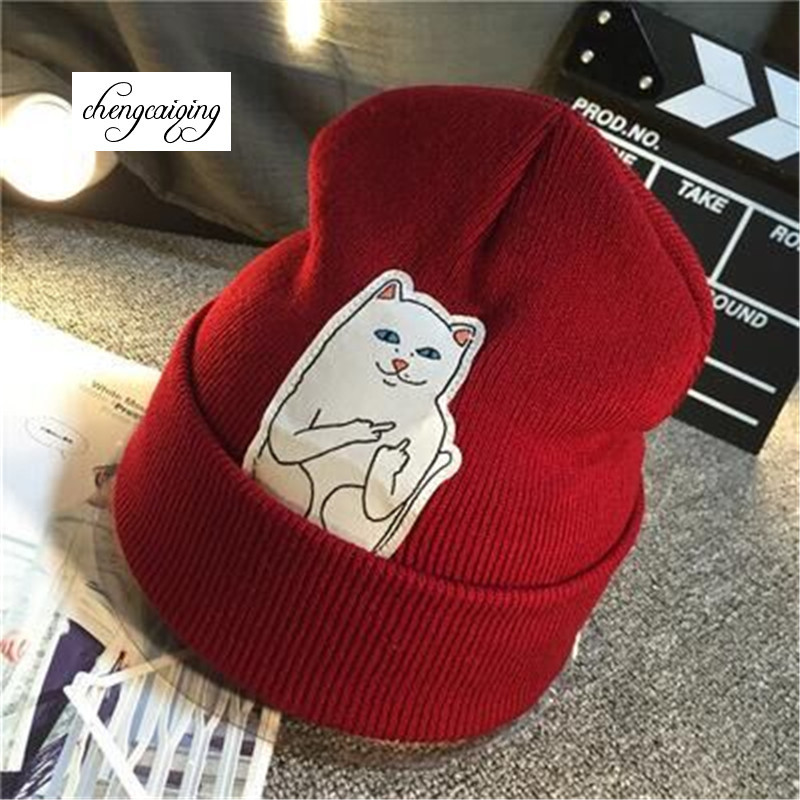 Free delivery 2016 hot autumn winter cat finger Street wool hat men and women knitted sleeve head cap female winter hats for men