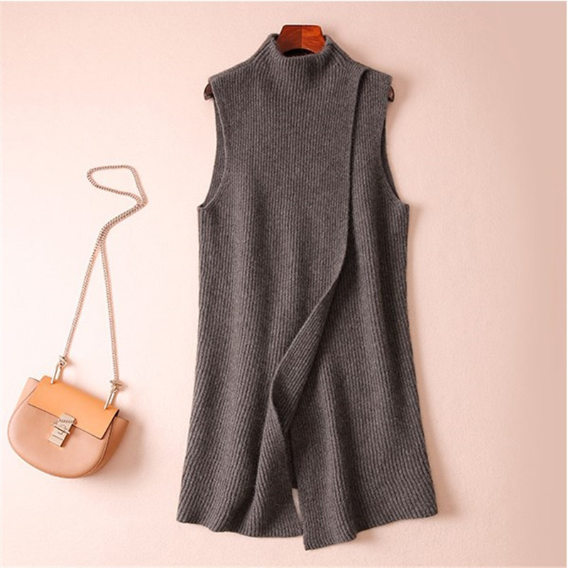 Autumn and winter new loose long section half high collar pullover cashmere split vest fashion knit
