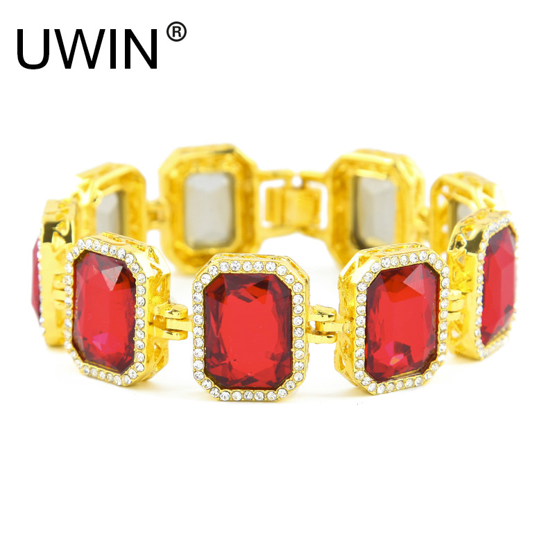 UWIN Men Hip Hop Gold Color Bracelet Iced Out Bling Rhinestone Square Red Blue Green Gem Crystal Bracelet Bangle Punk Jewelry chic rhinestone gem bracelet for women