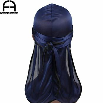 New Fashion Men's Satin Durags Biker Headwear Skull Cap Bandana Men Silky Durag Doo Rag Turban Hat Headband Hair Accessories 8