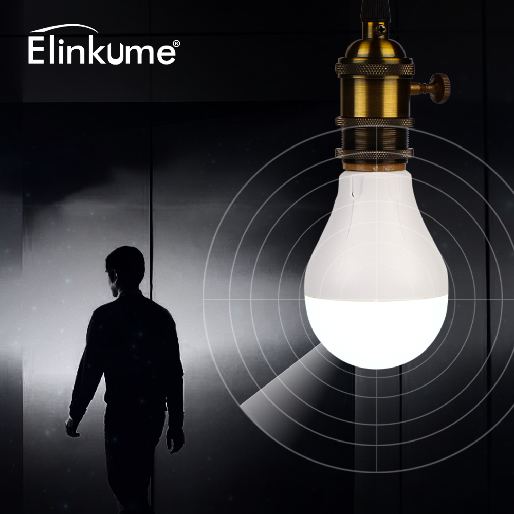 Elinkume Intelligent LED Bulb Human Body Induction Radar Sensor Sensing 7W 220V 30LEDs 420LM PC+Plastic Light Bulb Auto Smart produino tdl 5002 fbs4935 human body sensing module black