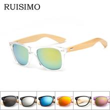 16 couleur lunettes de Soleil En Bois Hommes femmes carré bambou Femmes  pour femmes hommes Miroir Lunettes de Soleil rétro de so. f39a83d65a27