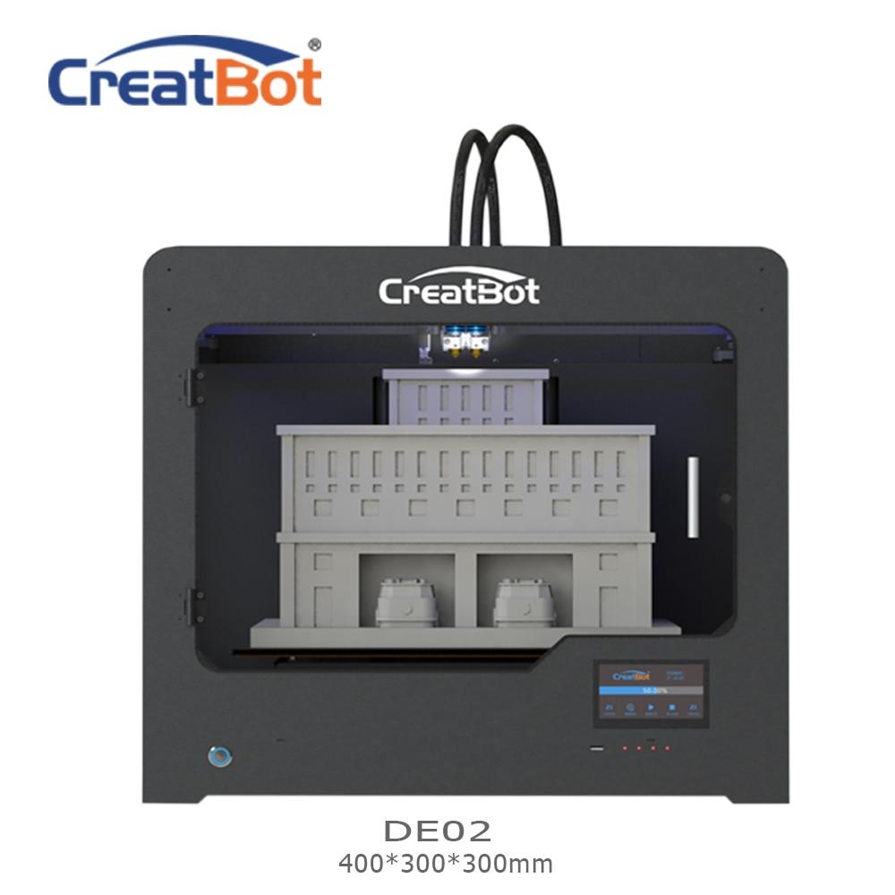 Metal extruder DE02 400*300*300mm 400 degrees Dual Extruder Creatbot 3d printer Large Size FDM 3D Machine House Use for sale
