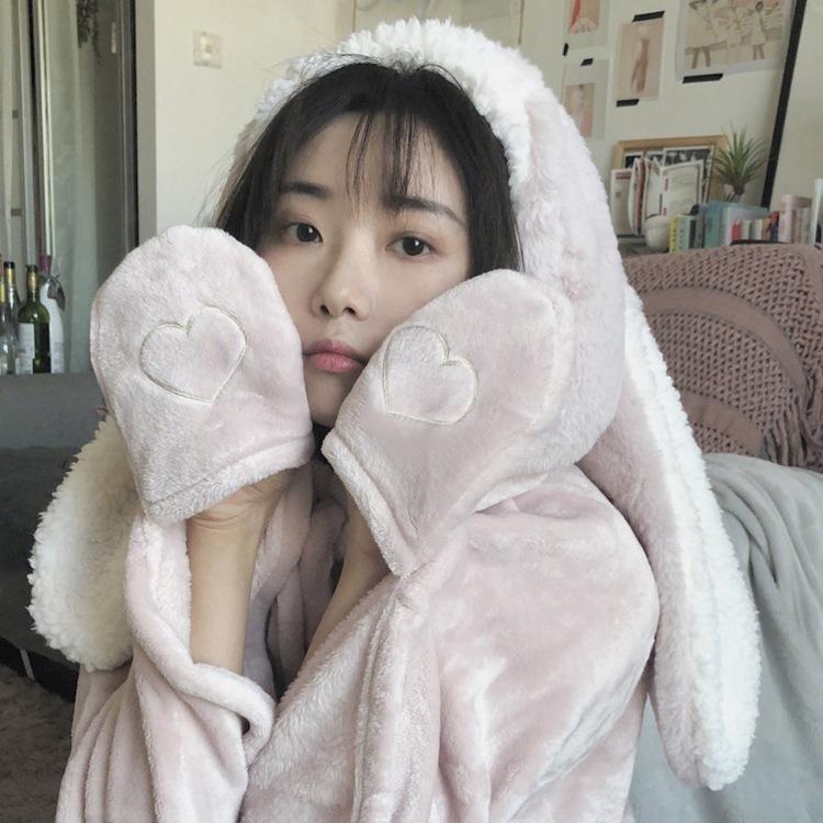 Cute Pink Comfy Blanket Sweatshirt Winter Warm Adults and Children Rabbit Ear Hooded Fleece Blanket Sleepwear Huge Bed Blankets 117