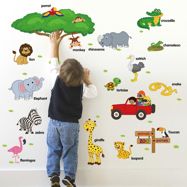 Cute Cartoon Wall Stickers Zoo Nursery School Children Room Decoration  Green Lion Car Bird Environmental Protection Part 84