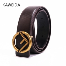 KWD 2018 Designer High Quality Trending Luxury Brand Genuine Leather Belts Smooth Buckle Waist Belt for Jeans Casual Cinto Kemer