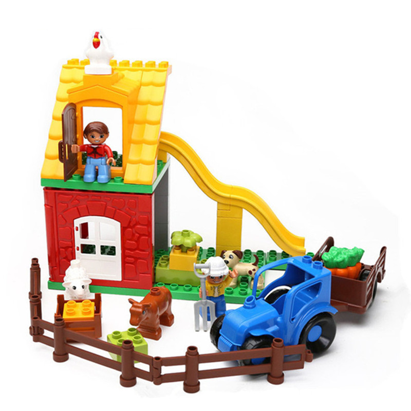 Farm Building Blocks Friends Figure Model Enlighten Bricks Compatible With DUPLO Baby Learning Education Toys For Kids decool 3117 city creator 3 in 1 vacation getaways model building blocks enlighten diy figure toys for children compatible legoe
