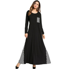 185709 Middle East Muslim Knitted Long Grain Dress Abaya Gown Stitching Dresses Musulamn Mujer Vestidos