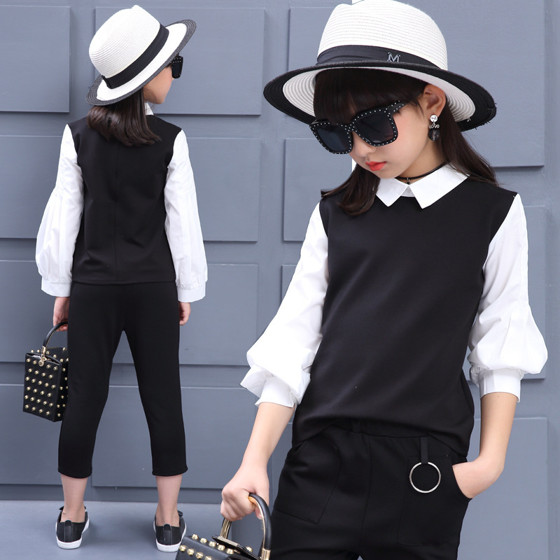 little teenage girls clothing sets 12 years 2017 autumn white black blouses top pants girls clothes suits 2 pieces sports  set