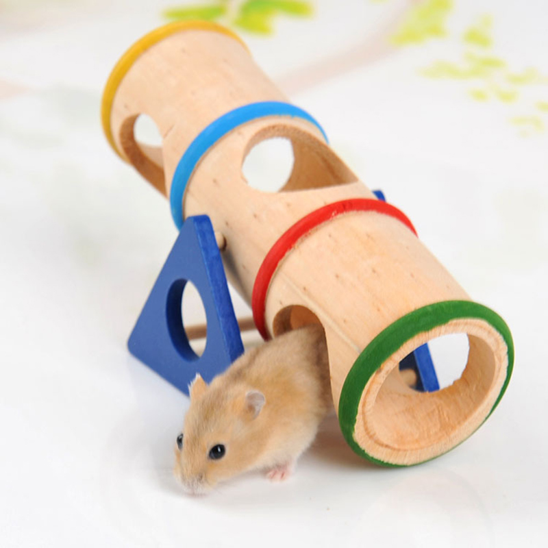 Wood Rainbow Upturned Barrel Hamster Toy Pet Supplies Wooden Porous Design Hamster Product Home Accessories High Quality