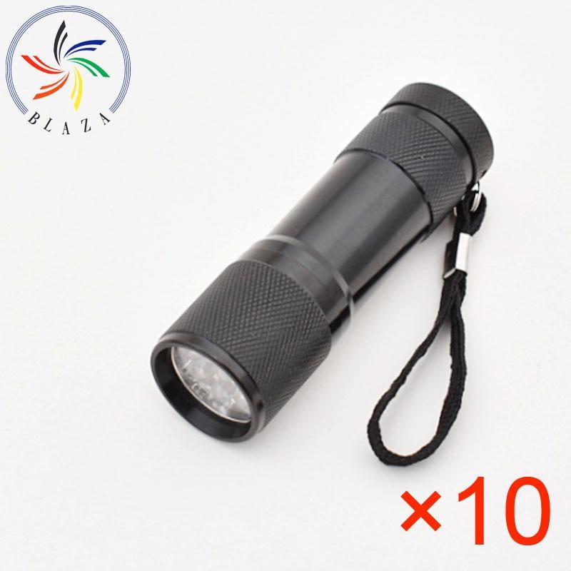 LED Blue Light Fishing Flashlight AAA Battery Torch for Fishing Alloy Searchlight 9 Leds Flashlight
