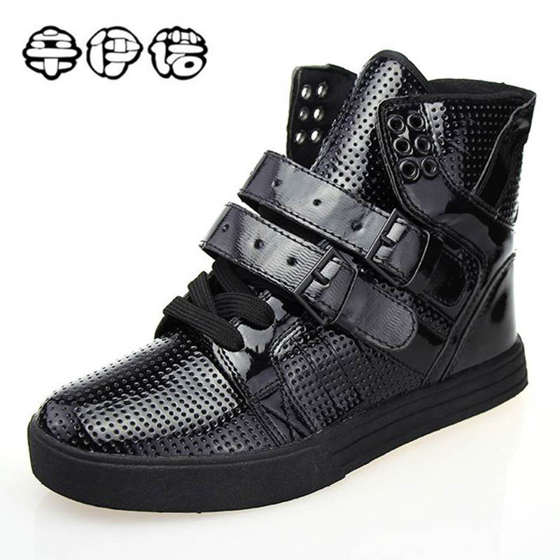 2018 Brand New High Top Casual Shoes For Men PU Leather Lace Up Red White Black Color Mens Hip Hop Shoes Men High Top Sneaker 2017 new chaussure homme mens shoes casual leather vulcanize hip hop white men platform summer hot sale breathable black shoes
