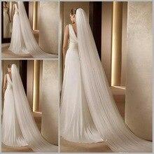 Элегантные свадебные аксессуары 3 метра 2 слоя свадебная вуаль белая слоновая кость простая Фата для невесты с гребнем свадебная вуаль горячая распродажа