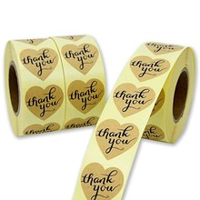 1 Roll Heart Round THANK YOU Paper Stickers Labels Gift Box Adhesive Stickers Kawaii Stationery(China)