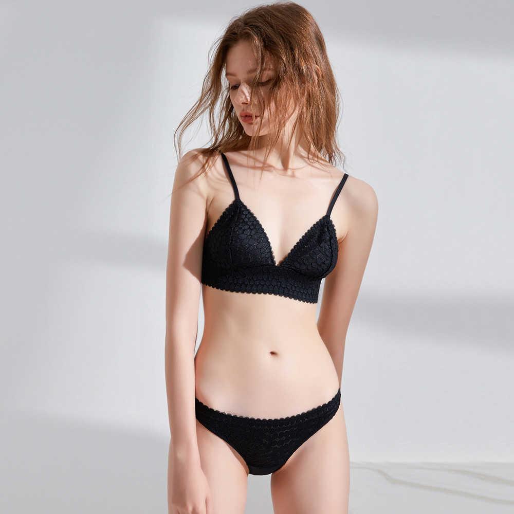 114dd50018 ... Munllure Black bra girl heart underwear panties suit female thin  section triangle cup unserwear women cup ...